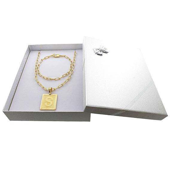 Cordão Banhado A Ouro 18k+ Pulseira + Letra +box C/garantia