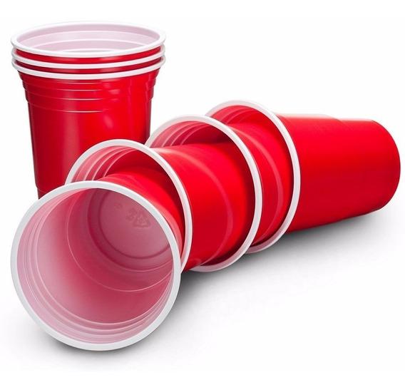 100 Copos Plásticos De Festa Americana Vermelhos Original