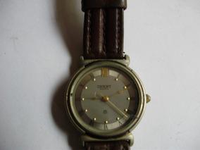 Relógio Orient Analogico Quartz Antigo Caixa De Metal Fosco
