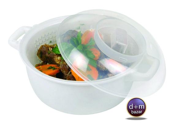 Cacerola Para Microondas Con Vaporera 2.6lt Ideal Veganos