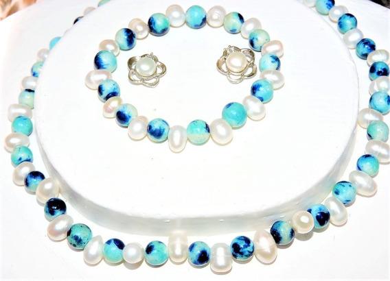 Collar Y Pulsera + Aretes Perla Cultivada Blanco + Jade 121