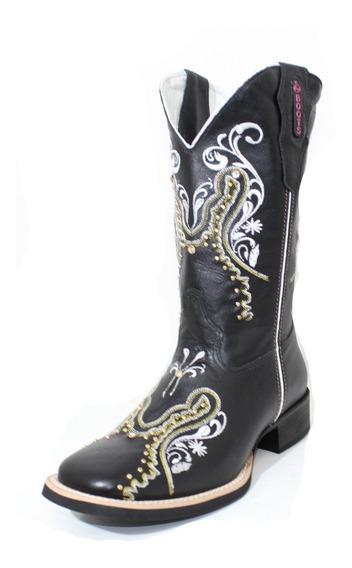 Bota Texana Feminina Cp-boots -preto/amarelo