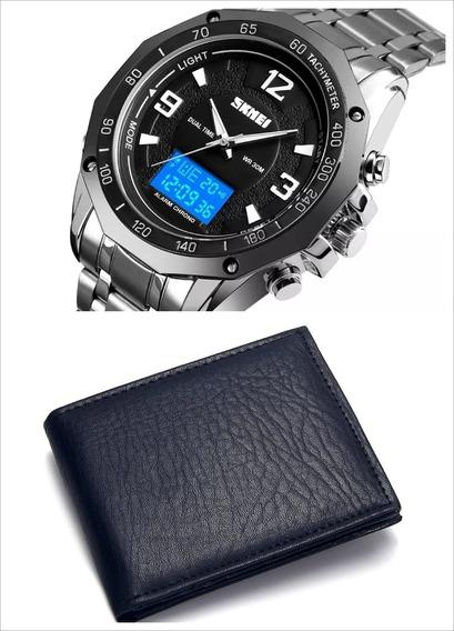Relógio Skmei Prata Masculino Pulseira De Aço Aprova D