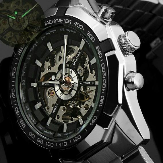 Relógio X Skeleton Mecanico Autom Aço Estilo Invicta