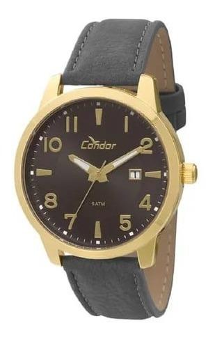 Relógio Condor Masculino Dourado Couro Original