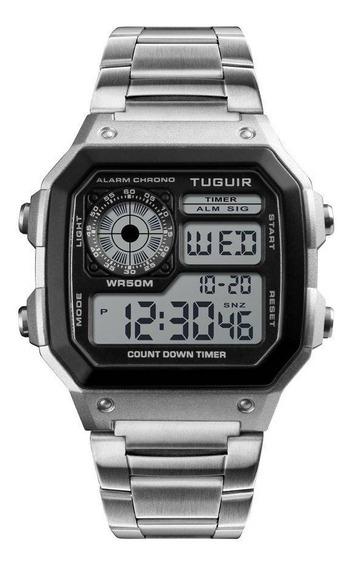 Relógio Unissex Tuguir Digital Tg1335 Prata C/nota*original