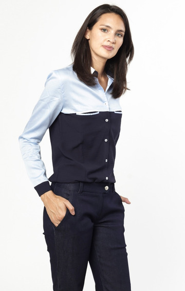 Camisa Stretch Satén Celeste Y Azul Giacca