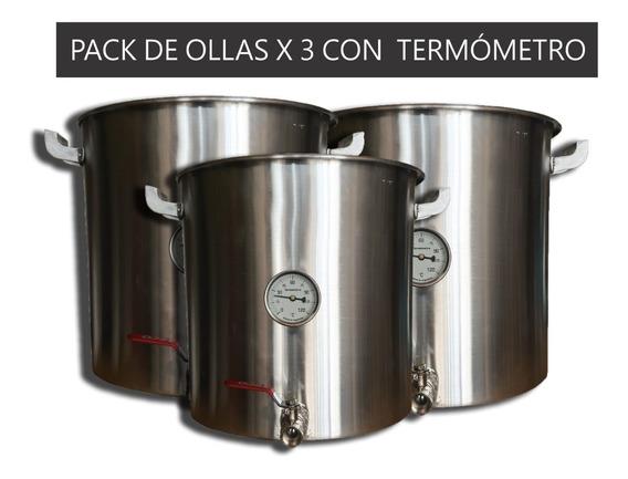 Ollas X3 - N°34/36/38 Con Termómetro - Beerman