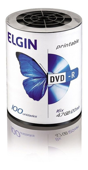 Dvd-r Printable 16x 4,7gb 120min Bulk 100 Elgin