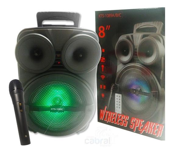 Caixa De Som 10+2w Wireless C/ Microfone E Controle Remoto