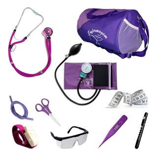 Aparelhos Para Enfermagem Roxo Com Esfigmo E Esteto Duplo