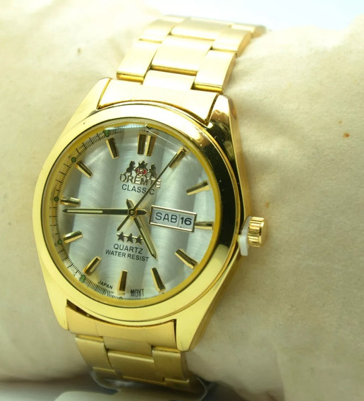 Relógio Pulso Masculino Dourado Estilo Clássico Social Fgrat