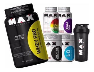 Kit Fit Man Suplemento Completo - Whey Pro - Max Titanium