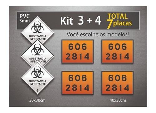 7 Placas Rótulo De Risco E Onu - Pvc 3mm - Kit 7 Unid