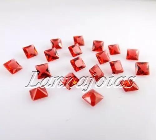 2 Pedras Carrê 5mm Em Quartzo Tanzanita E Rubi C/ Fretegráts