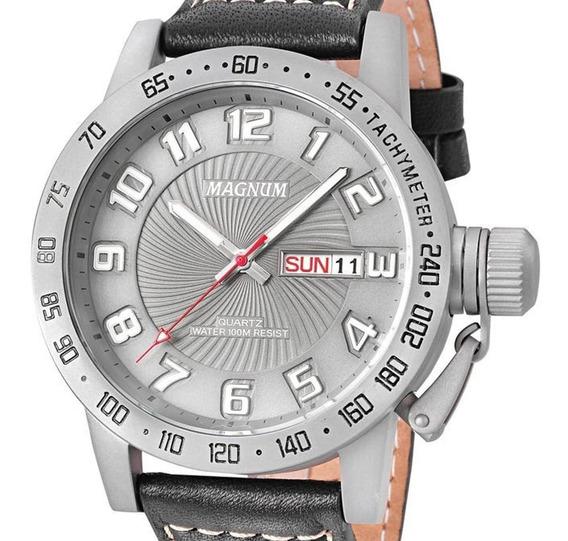 Relógio Masculino Magnum Ma33139w Calendário Pulseira Couro