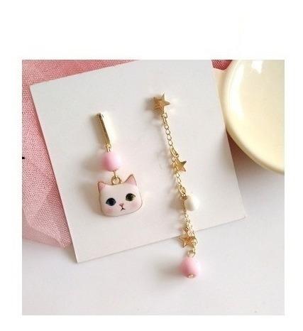 Aretes Gato Neko Cute Kawaii Rosa Disparejo Importado Japon