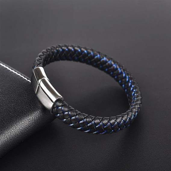 Pulseira Masculina Couro Trançado Com Efeito Em Azul Com Fecho Magnético Em Aço