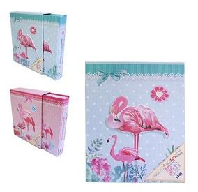Album De Fotos Com Estojo Decorado Flamingo Para 100 Fotos 1