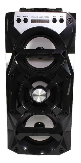 Caixa De Som Bluetooth 12w Sd Usb Fm Mic Led Dj C/ Baterial