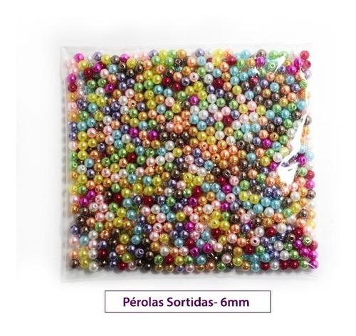 Perola Abs Inteira 6mm C/furo 1.000 Unidades Colorida