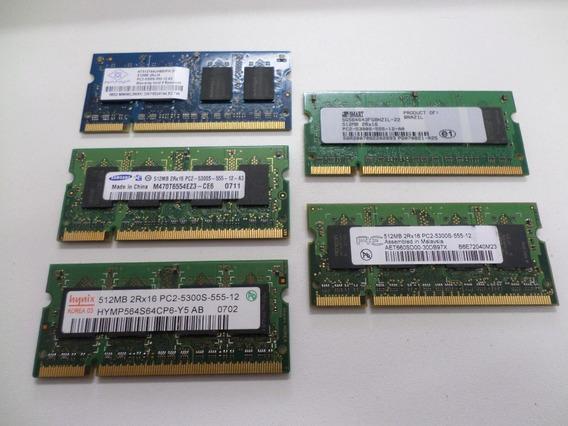 Kit 5 Memórias Notebook 512mb Pc2 5300s 4200s Várias Marcas