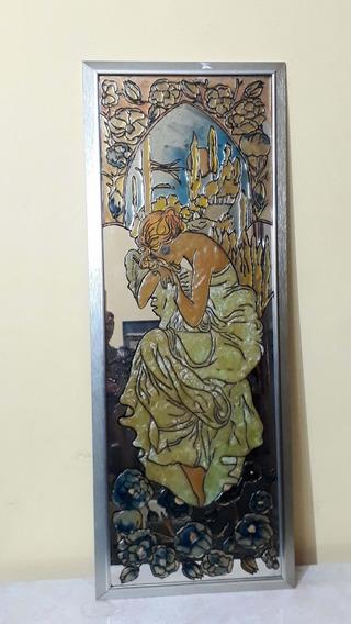 Grande E Lindo Espelho Pintura Art Noveau 95x36 Cm Assinado