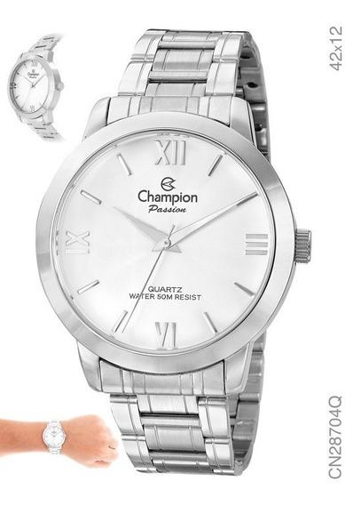 Relógio Feminino Prata Grande Champion Original E Cn28704q