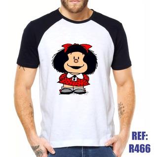 Camisa Raglan Mafalda Desenho Quadrinho Hq Comic Estilo Swag