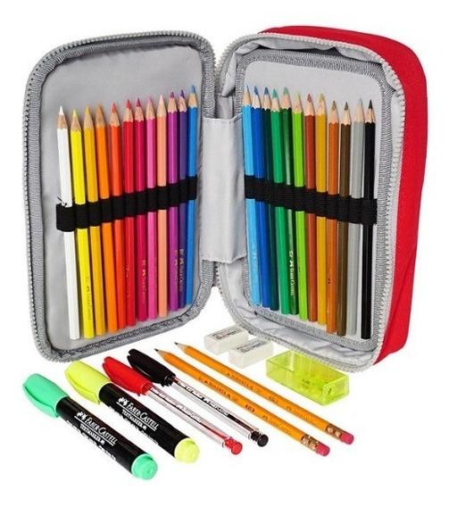 Faber Castell 24 Colores, Estuche Con 34 Pzas Escuela Dibujo