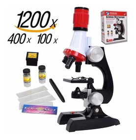 Kit Laboratório Ciências Microscópio Até 1200x P/ Crianças