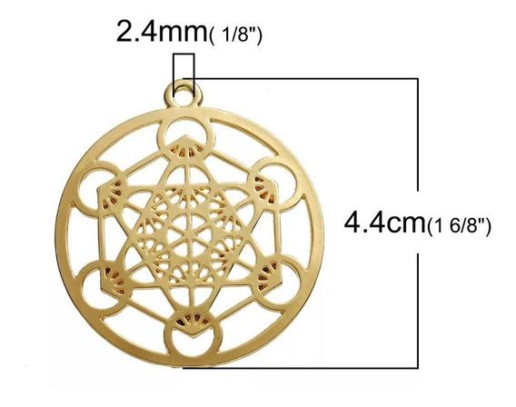 Colar Meditação Merkaba Cubo De Metatron Prateado/dourado