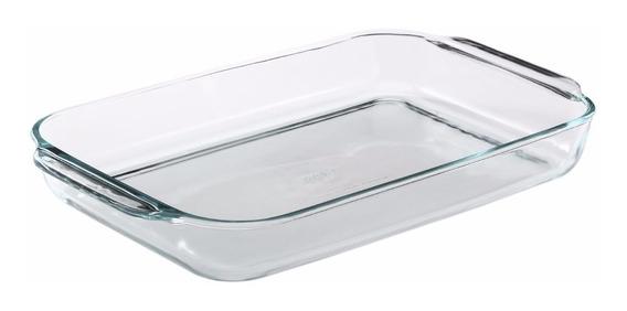 Asadera Grande Fuente Molde Rectangular Vidrio Templado Pyrex Basics Para Horno Freezer Con Asas - 44 Cm 4,5 Litros