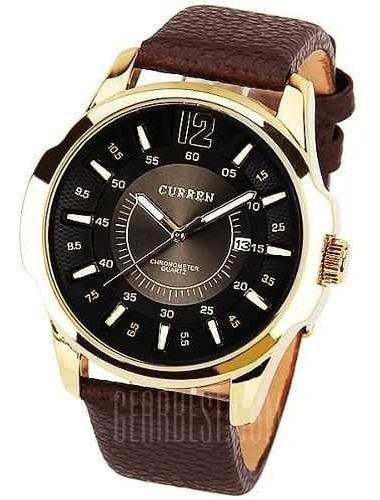 Relógio De Ponteiros Analógico Dourado Com Preto Curren