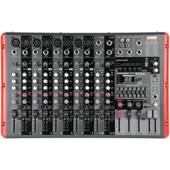 Mesa De Som Amplificada Novik Nvk-1200pbt Usb Com Bluetooth