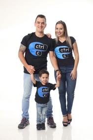 Kit Família Camisetas Ctrl-c E Ctrl-v 4 Peças
