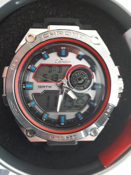 Relógio Masculino Condor Neon Preto Com Vermelho