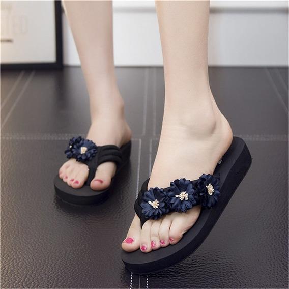 Sandalias De Cuña De Plataforma Para Mujer Con Flowe Hecho