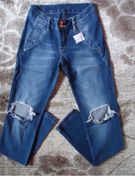 Calça Jeans Skinny Destroyed Da Feranda