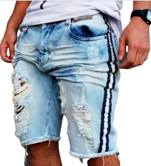 Bermuda Jeans Destroyed Rasgada Com Faixa Lateral Azul Claro