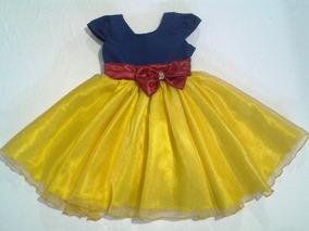 Vestido Infantil Branca De Neve Luxo Com Tiara De Brinde