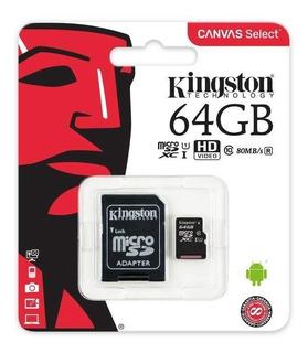 Micro Sd Kingston Canvas Select 64gb Class 10 Envio Gratis