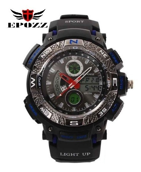 Relógio De Pulso Epozz Ep-1311 Importado Preto E Azul
