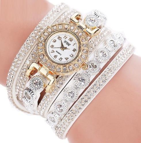 Relógio Feminino Correia Dupla Couro Branco Com Brilhantes