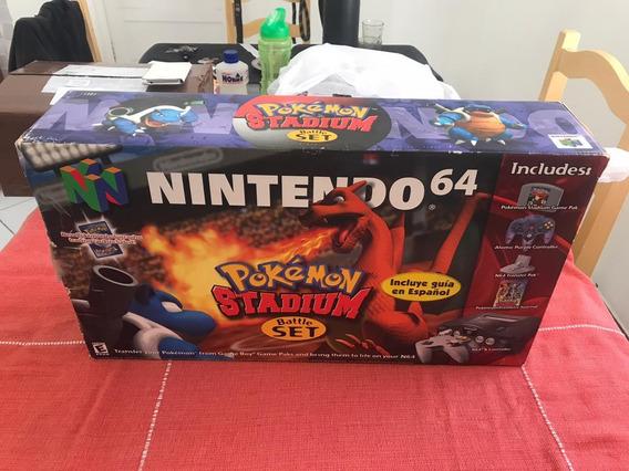 Nintendo 64 Pokemon Stadium Completo Novíssimo Tudo Original