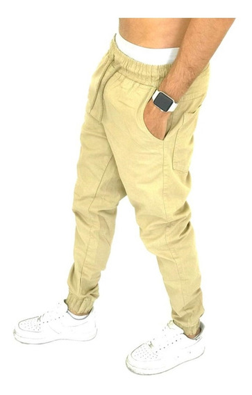 Calças Jeans Bege E Camuf Masculina Jogger C/ Punho Elastico