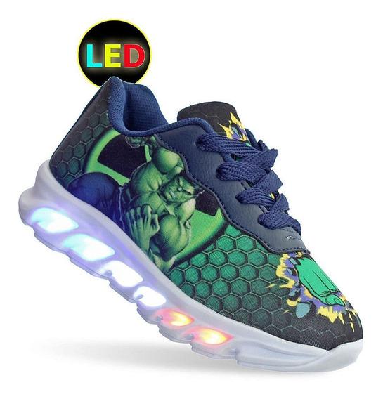Tenis Infantil Masculino Com Luz De Led Incrivel Hulk
