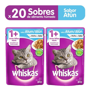 Comida Para Gatos Whiskas Sobres Adulto Atún X85gr (pcx20un)