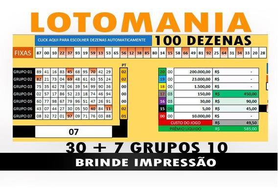 Lotomania 100 Dezenas - 30 Fixas + 7 Grupos De 10