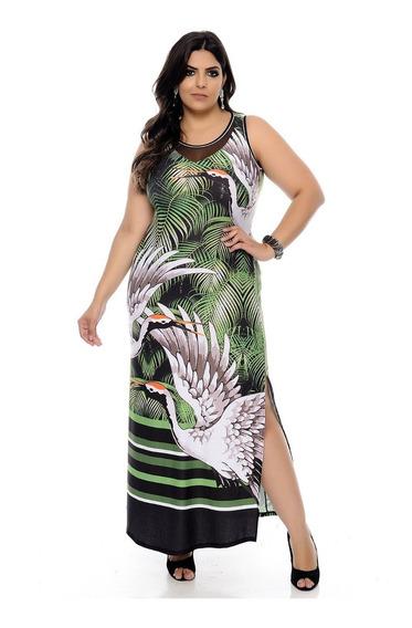 Vestido Longo Plus Size Estampado Jenifer